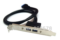 [DHL FREE SHIPPING!] WHOLESALE 30pcs/lot USB 3.0 A Female 2 Ports to Motherboard 20 pin Adapter Converter 0.5M Cable