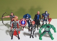 40 sets freeshipping DHL The Avengers Iron man Hulk Thor Captain America Black widow Figure super hero 7x Marvel superhero