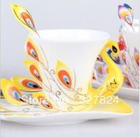 Free shipping!super beautiful high quality chinese ceramic cup Enamel porcelain dazzle gold peacock coffee mug cup ceramic mug