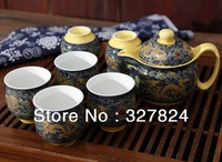 Free Shipping Double-deck tea gift box packaging box teapot double layer cup kung fu tea set Jingdezhen ceramic tea pot