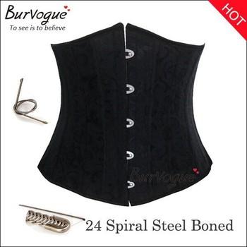 2013 Черный/Белый Steel Bone UnderБюст Corset Brocade 24 Steel Boning Женщины Бюстier ...