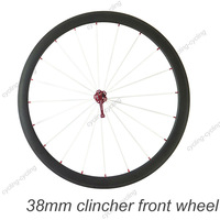 38mm clincher bike front wheel 700c Carbon fiber road Racing bicycle wheel,single wheel