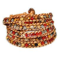 "QCL55 34-36"" Natural agate beaded baeds bracelet leather 5 wrap handmade bracelet"
