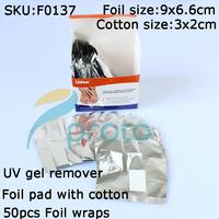 Freeshipping-10boxes/lot 50pcs NEW Wrap It Off  UV / LED Gel Polish Foil Wrap Removes Cotton Pad Foil SKU:F0137XX