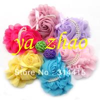 "5"" chiffon silk baby rhinestone rose hair flower,  kids children hair flower, 7colors in stock, 200pcs/lot, free shipping by EMS"