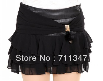 Hot Fashion Women Black Genuine Lambskin Leather High Waist Short Pencil Skirts XS/S/M/L/XL/2XL/3XL Free shipping YDX-LS1383
