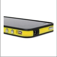 free shipping Yellow and Black Premium Bumper  for Apple iPhone 4 with Metal Button #8233