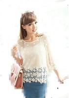 2014 spring new arrival three quarter sleeve loose fashion medium-long crochet lace cutout sweater female shirt
