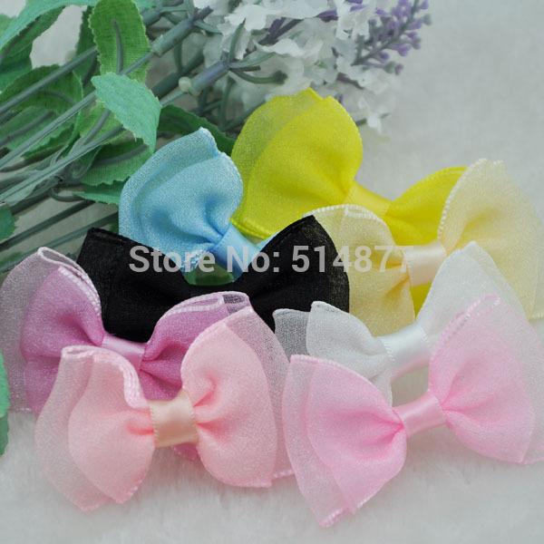 100pcs Fancy Organza ribbon bow wedding baby doll appliques Lots U pick A003(China (Mainland))