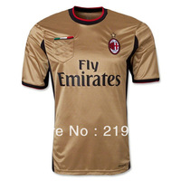 Free shipping 13/14 best Thailand quality AC Milan Golden soccer jerseys football Uniforms +Embroidery Logo