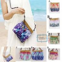 women messenger bags Women Fashion Style Cute small floral Straw Accent Cross Body Shoulder Bag Handbag Messenger Bag 6 Styles