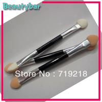 Free shipping High Quality Dual Side aluminum tube Eye Shadow Makeup Stick Brush Sponge Applicator Tool Wholesale 30pcs/lot