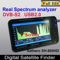 Original SATHERO SH-600HD DVB S2 Digital Satellite Finder  finder satellite meter with Spectrum Analyzer 7inch LCD USB2.0