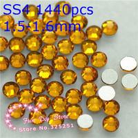 A++ topaz non hotfix rhinestons SS4(1.5--1.6mm) 1440pcs/lot golden rhinestones