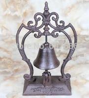 European Style Large Pedestal Rustic Fleur de Lis Cast Iron Service Bell, Hotel Bell Desk Bell Dinner Bell Decor Free Shipping