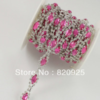 1 Yard Clear Rhinestone Rose Pink Crystal Applique Costume Sewing Trims