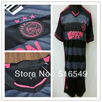 13/14 Ajax gray+black Soccer Jersey,Soccer Shirt & Short,Ajax Ajax gray+black soccer kit+Embroidery Logo Soccer Uniform