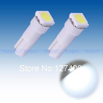 2pcs Pure White T5 74 1 SMD 5050 Dashboard Wedge 1 LED Car Light Bulb Lamp