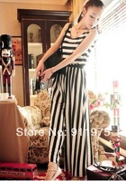 2014 Fashion vintage black and white stripe vest racerback jumpsuit wide leg pants casual trousers stripe jumpsuit