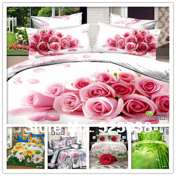 6PCS Free shipping 100% cotton 3D Flower printed  with Queen size  King size 3d bed linen 3d