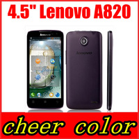 Case&film free! original lenovo A820 mobile phone 4.5'' IPS Screen MTK6589 Quad Core 8.0MP Camera Android 4.1 multiple languages