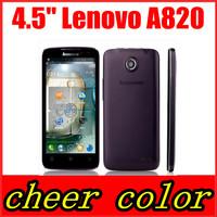 Case&film free! original lenovo A820 mobile phone 4.5'' IPS Screen MTK6589 Quad Core 8.0MP Camera Android 4.1 multiple languages