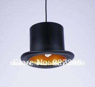 New design 110v 220v e27 lamp holder Jeeves & Wooster Top Hat chandelier aluminum hat light for home Outside Black Inside Golden