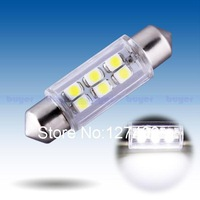 2pcs 39mm 6 SMD Pure White Dome Festoon Interior 6 LED Car Light Bulb Lamp