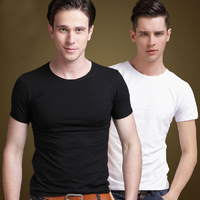2014 summer mens leisure short-sleeved tee classics male undershirt slim fit V-neck man casual t shirts Asia size S-XXL C417