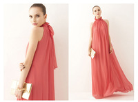 2013 Elegant Summer Chiffon Ruffle Neck Sleeveless Evening Ball Gown Long Maxi Dress