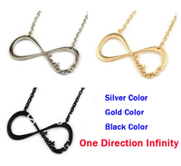 Wholesale 30pcs/lots mix color ONE DIRECTION 1D Chain Infinity Necklace Pendant Fans Jewelry Gift Free shipping