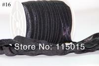#16 Black Promotion  FOE Fold Over Elastic 50 Yards Foldover elastic for Headband Hair Ties Hair Accessory Free Shipping