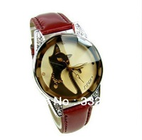 Promotions  fashion watches Ladies watches Wristwatches  diamond cute cat elegant watches, free box spare battery Free shipping