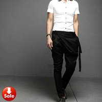 NEW Men Women Unisex 2013 Fashion Korean Style Punk Casual Low Drop Crotch Harem Baggy Tapered Skinny Pants Slacks Trousers