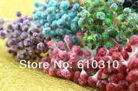 Free shipping wholesale 5mm Multicolor Double Colors matte stamen with Glass head  Nylon stocking flower stamen 900pcs/Lot