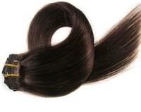 2013 Cheap hair Hot Sale 28 inch 7PCS/set 120G Clip in 100% Remy human hair extension 4# Human natural hair virgin hair