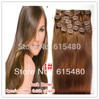 "20""22"" 8 PCS 100g Clip in Real women hair extensions 4# dark/chocolate brown 100% Clip in hair full head cheap Free shipping"