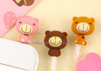 30PCS NEW Chocolate BEAR Dust Plug 3.5mm Earphone Jacket Plug Jack Stopper Phone4 4s Plug Hole Cap Socket