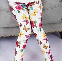 Retail 1Pc New 2015 Spring Baby Kids Cotton Flower Leggings Girl legging Children Pencil Pants Trousers Girls 4-12 Y CC1687
