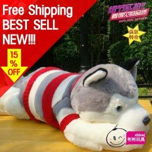 5-28 Little dog sweater cucu husky dog 80cm plush toy Free Shipping