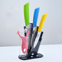 "Kitchen U TimHome Brand Ceramic Knife Set 4"" 5"" 6"" inch + Peeler + Holder Free Shipping"