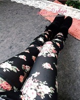 Free shipping Lady's Punk Funky Sexy new big yards Denim Stretch Leggings pantyhose wholesale Korean Retro Flower Print Leggings