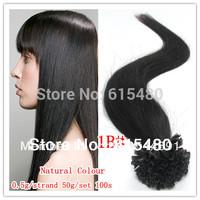 "18"" 20"" 22"" 100% Keratin Nail U tip prebonded hair extensions INDIAN REMY 1B# off black 100strands 50g"