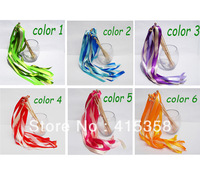 10 TWIRLING STREAME WEDDING FAVOR RIBBON STICKS / WANDS WITH BELLS YOUR COLORS