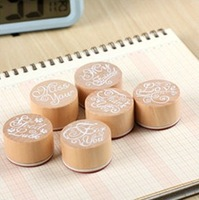 Blue Bai Stationery--Hot sale New style Korean Stationery best wishes wood round stamp gift stamps Wooden Rubber stamp 150038