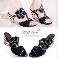Fashion 2013 open toe high-heeled drag cutout wedges flower rhinestone women's Women slippers