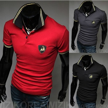Free shipping 2013 new sports car logo men's short-sleeved shirt  high quality men's short-sleeved T-shirt