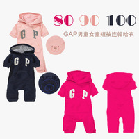 Children's clothing 12010gap female child with a hood side zipper short-sleeve romper pp style short-sleeve bodysuit 33