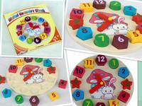 Free Shipping Children Wooden Toys Wood Digital Building Blocks Clock Toys 1pc