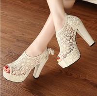 Sexy Lace Ladies Open toe high heels Party Platform Pumps Fashion Cut-out shoes woman sandals